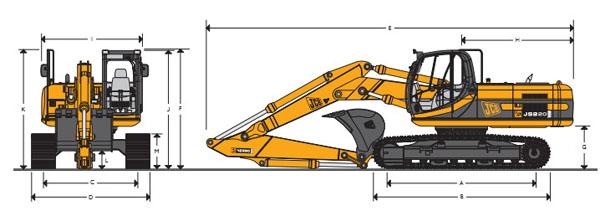 Технические характеристики гусеничного экскаватора JCB JS 220